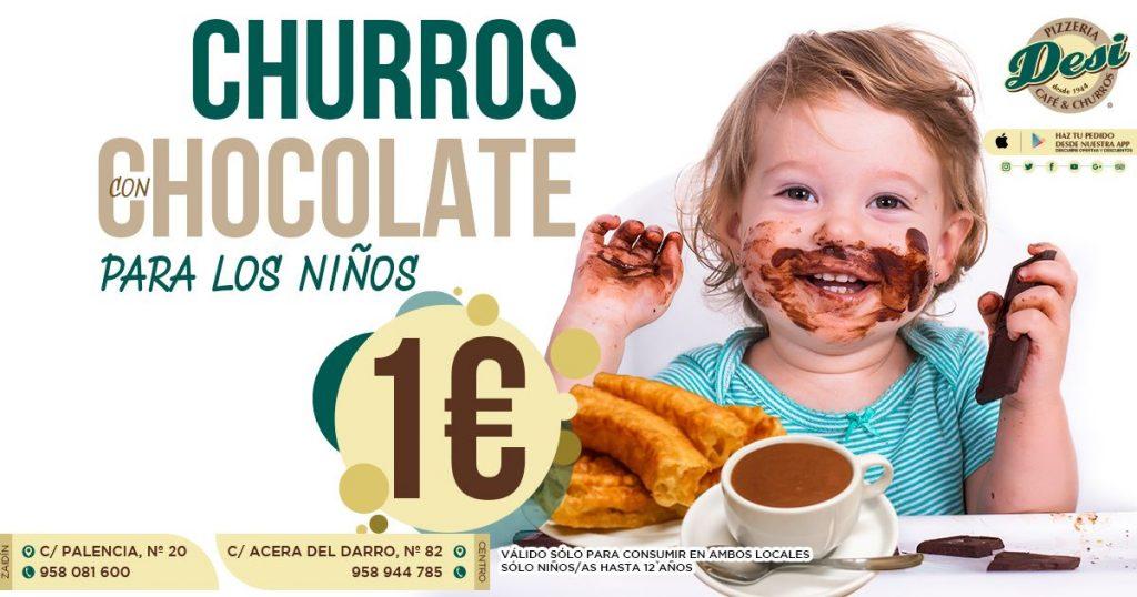 Chocolate con churros para los niños